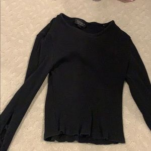 Topshop Shirt Size 8, cross Over Sleeves
